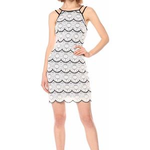 Guess black and white lace scalloped dress